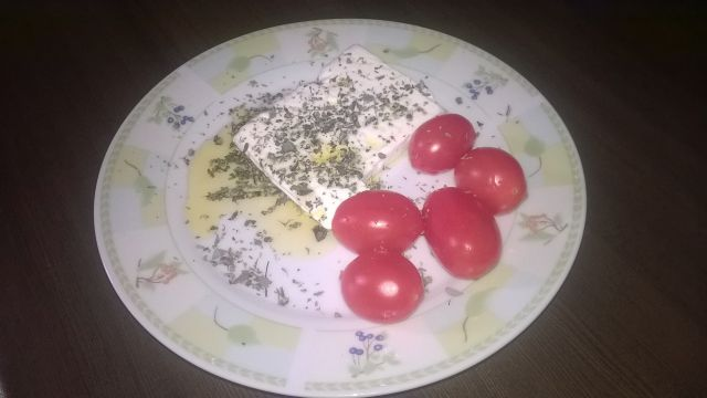 Any average branch with overwhelming oregano on Greek feta, small tomatoes along with home-made, village, olive oil. Just as i enjoy it.